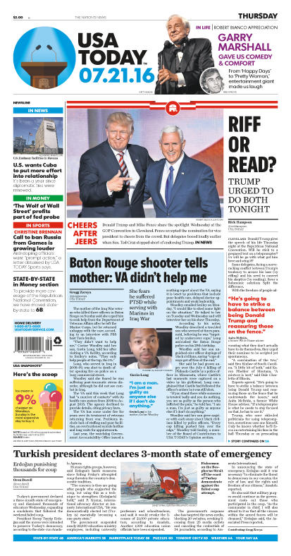 07/21/2016 Issue of USA TODAY