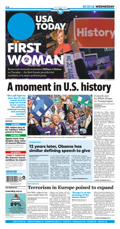 07/27/2016 Issue of USA TODAY