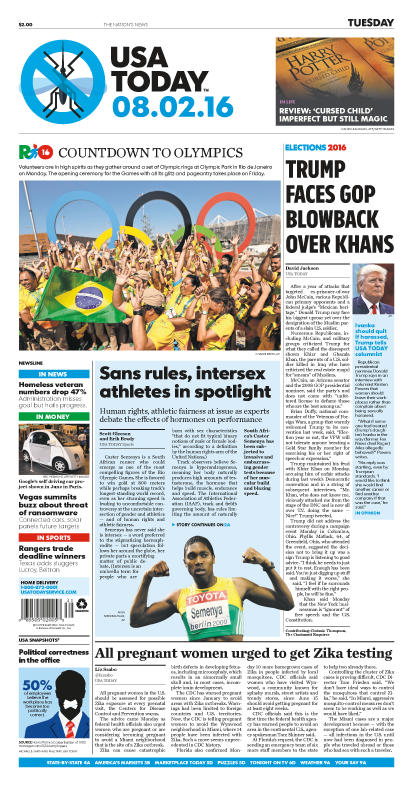 08/01/2016 Issue of USA TODAY