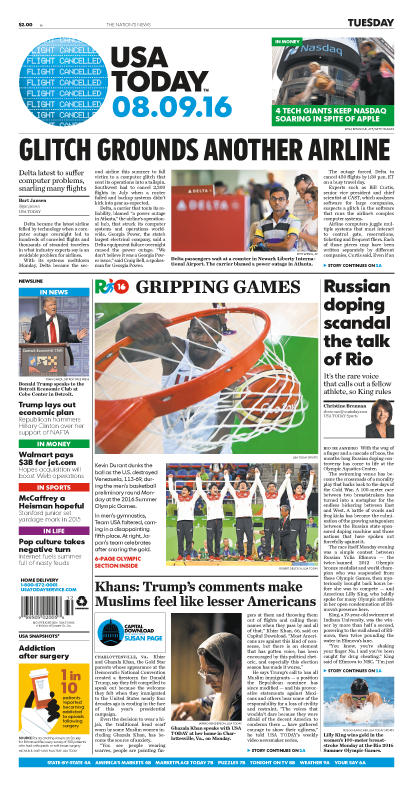 08/09/2016 Issue of USA TODAY