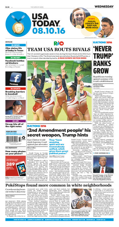 08/10/2016 Issue of USA TODAY