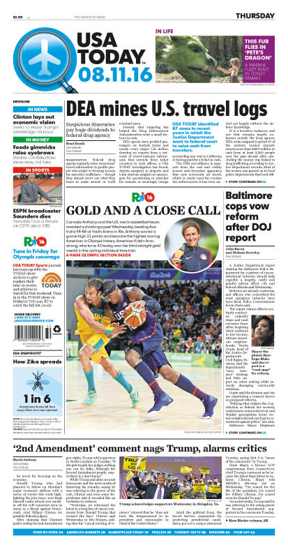 08/11/2016 Issue of USA TODAY