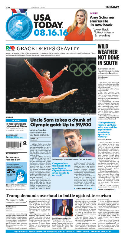 08/16/2016 Issue of USA TODAY
