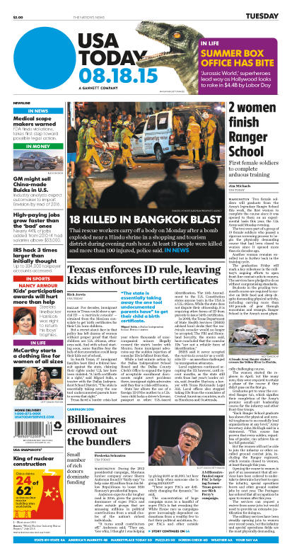 08/18/2015 Issue of USA TODAY