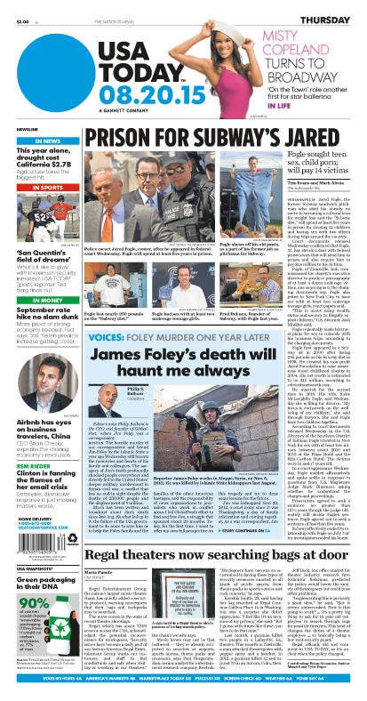 08/20/2015 Issue of USA TODAY