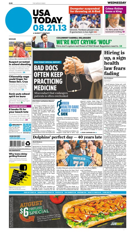 08/21/2013 Issue of USA TODAY