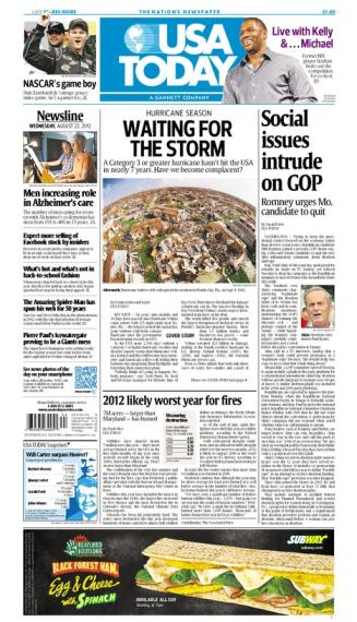 08/22/2012 Issue of USA TODAY