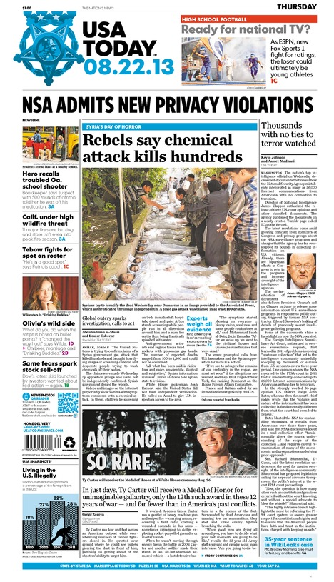 08/22/2013 Issue of USA TODAY – USA TODAY Online Store