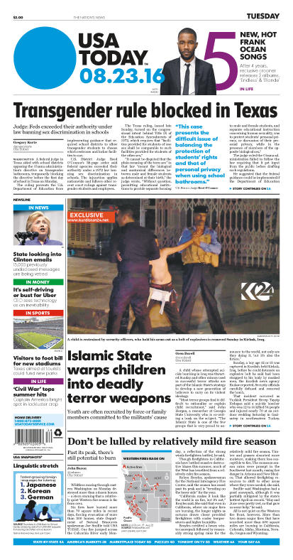 08/23/2016 Issue of USA TODAY