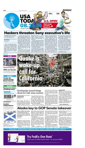 08/25/2014 Issue of USA TODAY