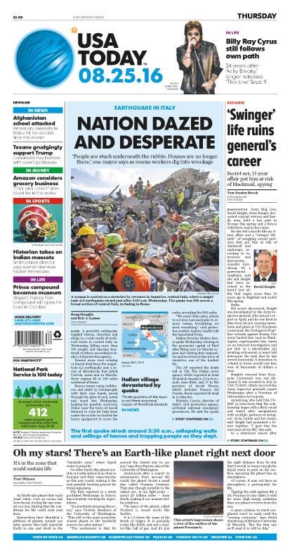 08/25/2016 Issue of USA TODAY