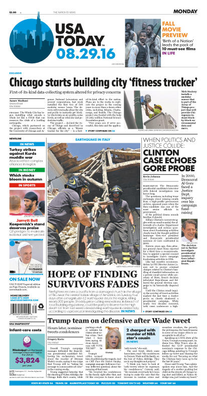 08/29/2016 Issue of USA TODAY