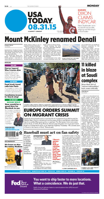 08/31/2015 Issue of USA TODAY
