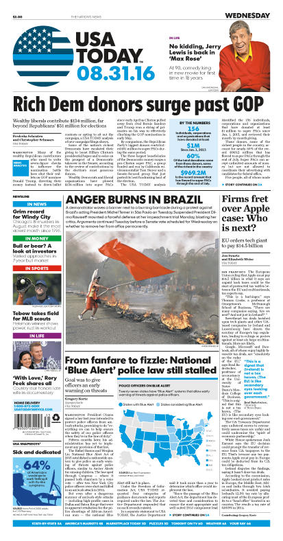 08/31/2016 Issue of USA TODAY