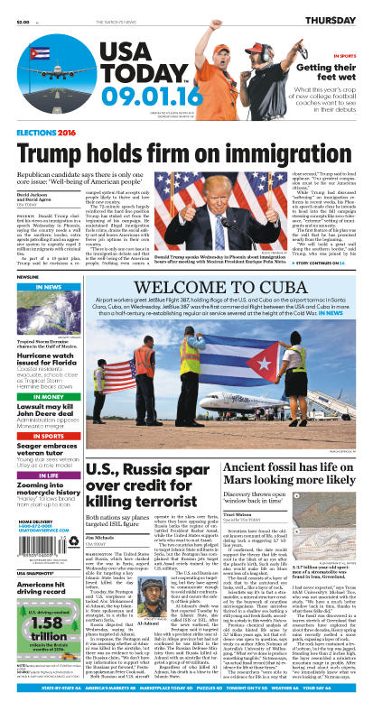 09/01/2016 Issue of USA TODAY THUMBNAIL