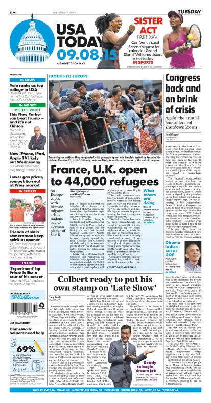 09/08/2015 Issue of USA TODAY