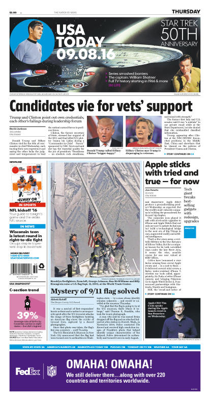 09/08/2016 Issue of USA TODAY THUMBNAIL