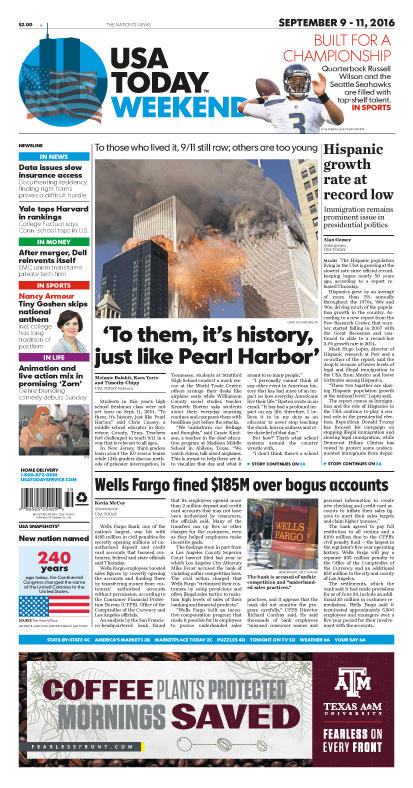 09/09/2016 Issue of USA TODAY THUMBNAIL