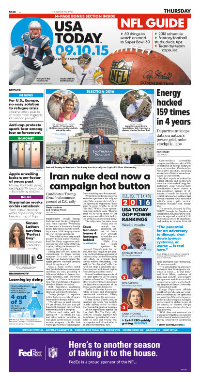 09/10/2015 Issue of USA TODAY