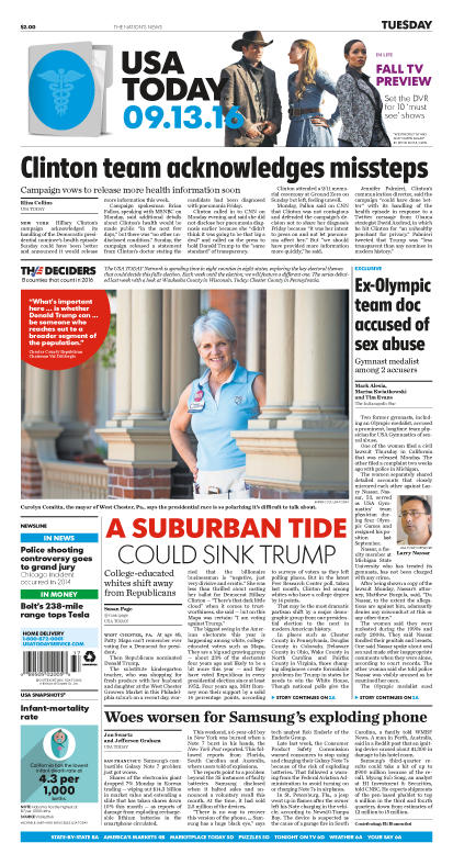 09/13/2016 Issue of USA TODAY