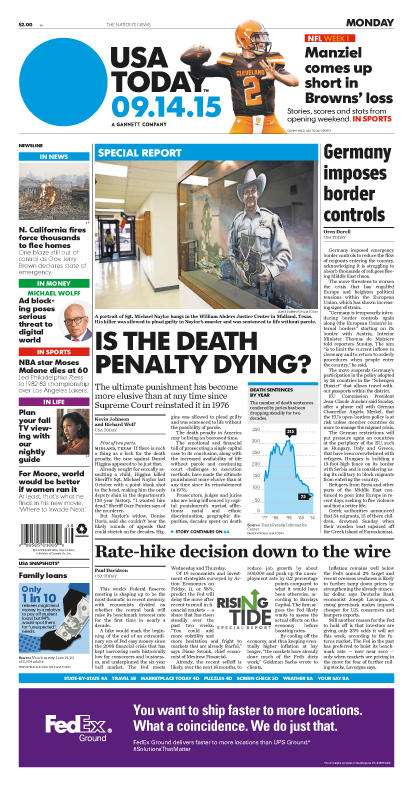 09/14/2015 Issue of USA TODAY