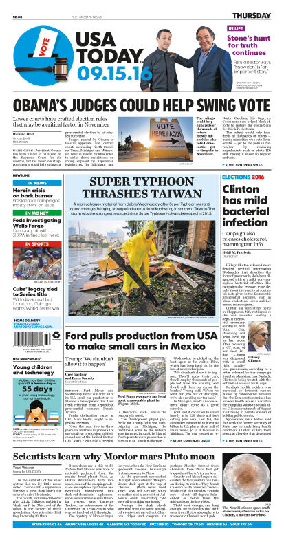 09/15/2016 Issue of USA TODAY THUMBNAIL