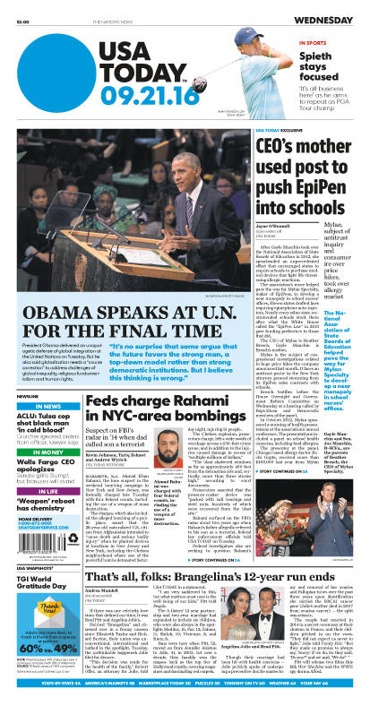 09/21/2016 Issue of USA TODAY