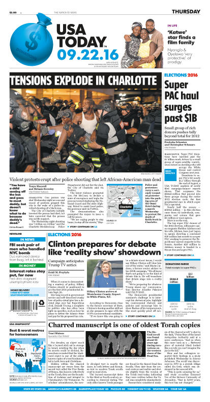 09/22/2016 Issue of USA TODAY THUMBNAIL