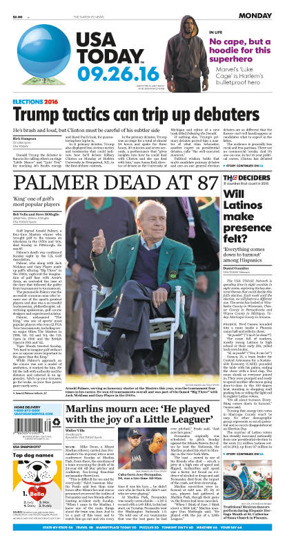 09/26/2016 Issue of USA TODAY THUMBNAIL