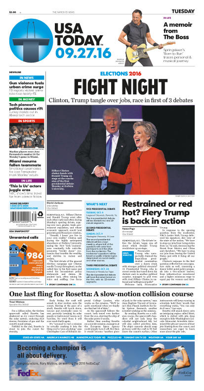 09/27/2016 Issue of USA TODAY THUMBNAIL
