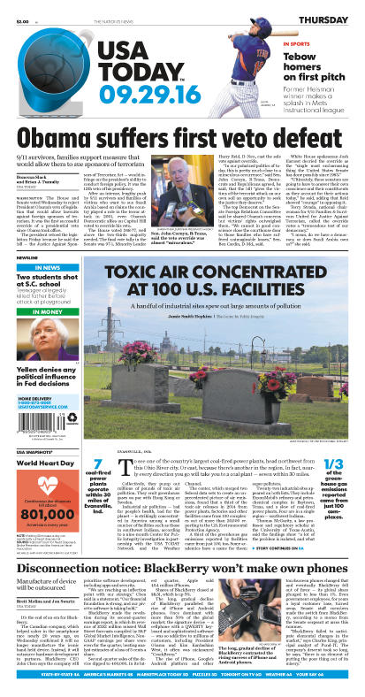 09/29/2016 Issue of USA TODAY THUMBNAIL