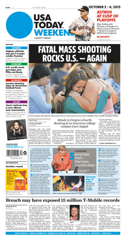 10/02/2015 Issue of USA TODAY