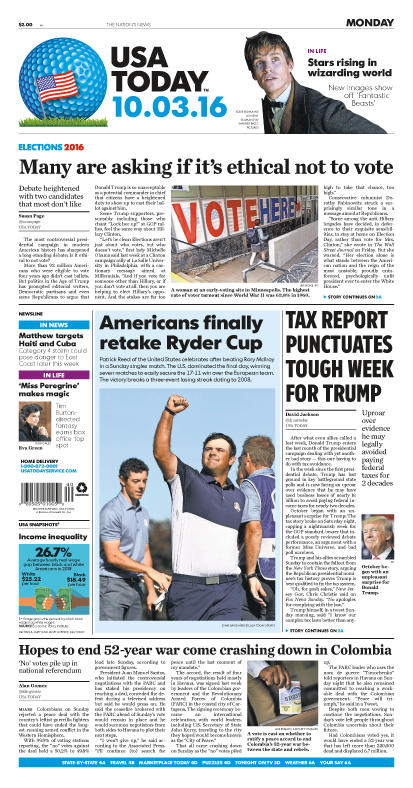 10/03/2016 Issue of USA TODAY