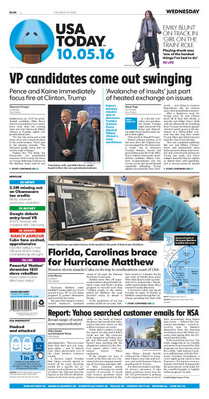 10/05/2016 Issue of USA TODAY MAIN