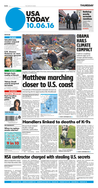 10/06/2016 Issue of USA TODAY