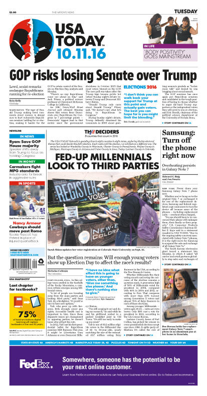 10/11/2016 Issue of USA TODAY