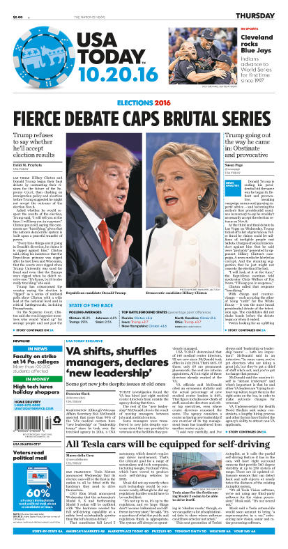 10/20/2016 Issue of USA TODAY