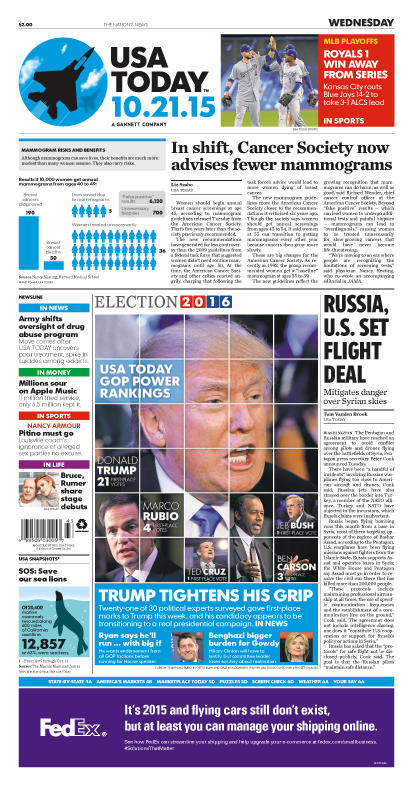 10/21/2015 Issue of USA TODAY