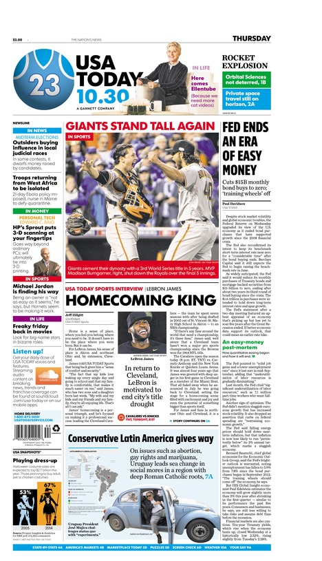 10/30/2014 Issue of USA TODAY
