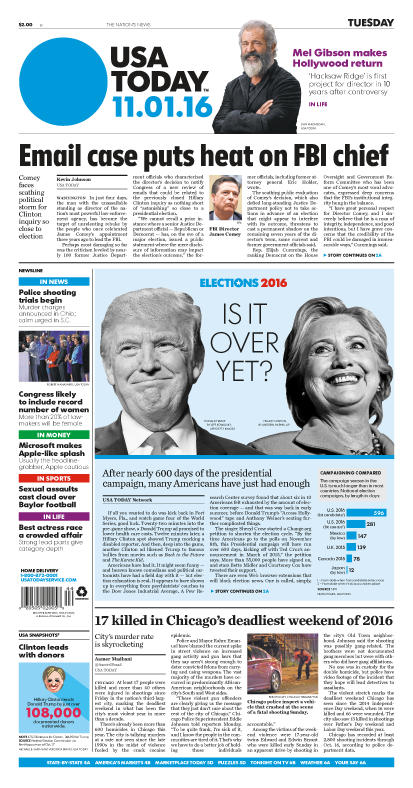 11/01/2016 Issue of USA TODAY