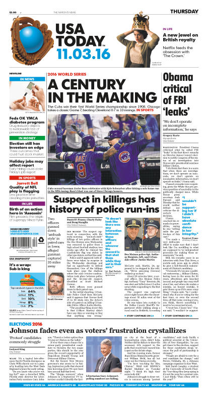 11/03/2016 Issue of USA TODAY