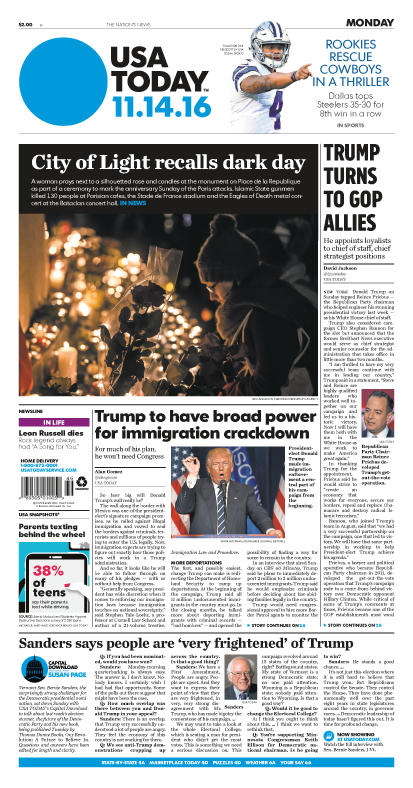 11/14/2016 Issue of USA TODAY