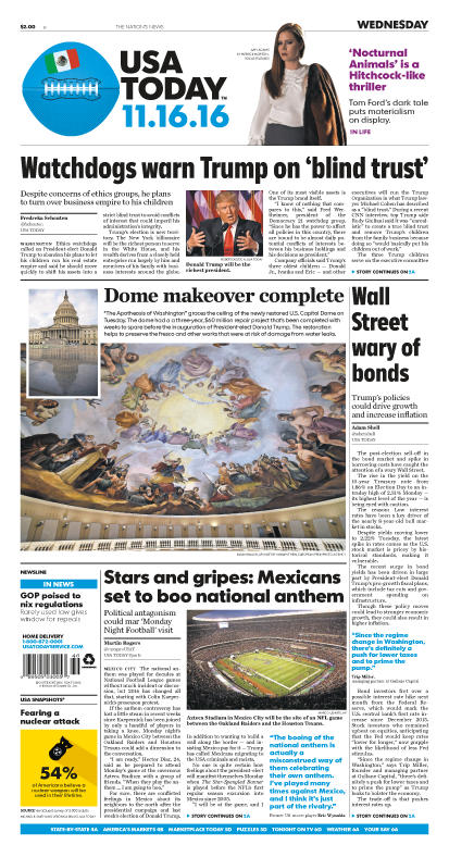 11/16/2016 Issue of USA TODAY