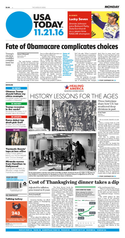 11/21/2016 Issue of USA TODAY