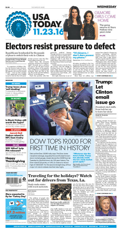 11/23/2016 Issue of USA TODAY