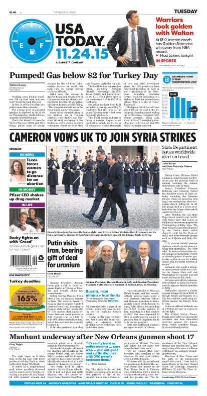 11/24/2015 Issue of USA TODAY