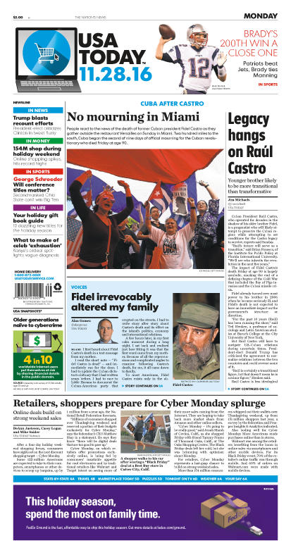 11/28/2016 Issue of USA TODAY MAIN