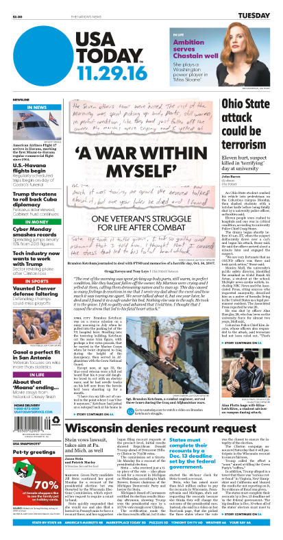 11/29/2016 Issue of USA TODAY