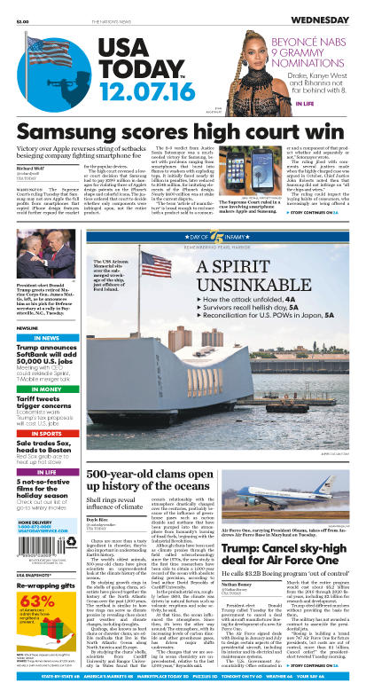 12/07/2016 Issue of USA TODAY
