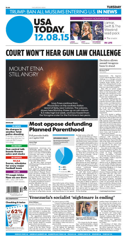 12/08/2015 Issue of USA TODAY
